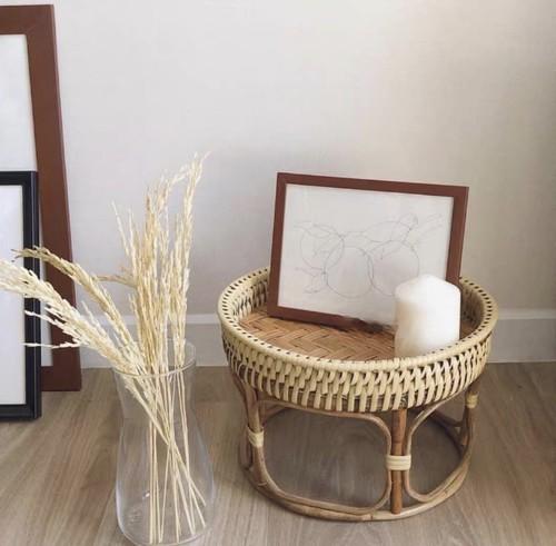 手編みバスケット丸テーブル